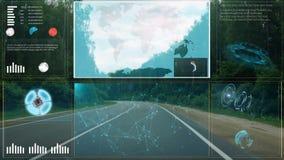 HUD Intelligent concept draadloze communicatienetwerk en bemanningscabine stock video