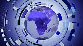 Hud interactif de media avec un globe de la terre Images stock