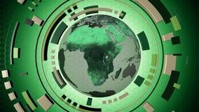 Hud interactif de media avec un globe de la terre Photographie stock
