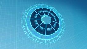 HUD Interface blu-chiaro con pianeta Terra su 4k ha reso la videoripresa illustrazione di stock
