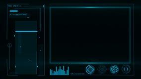 HUD Interface de utilizador e painel de instrumento futurista com projetores no tela filme