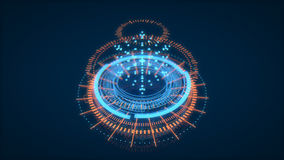 HUD Interface Element futuristico, UI La profondità di campo sopra appoggia di un particolare del tappeto persiano Dati Scien royalty illustrazione gratis