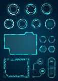 HUD Interface Elements Set, Circles, Loading, Frames for Web Applications, Futuristic UI - Illustration Vecto. R Royalty Free Stock Photos