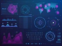 Hud Interface futurista Ui futuro del vector de la tecnología de la ciencia con los elementos infographic stock de ilustración