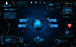 Hud interface global network connection tech innovation concept element template design. EPS 10 vector Royalty Free Stock Image