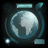 HUD interface with planet earth and radar. Computer network and Stock Image
