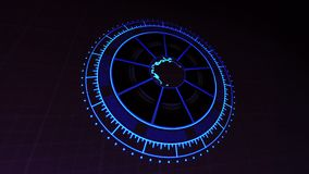 HUD Interface with Planet Earth Technology Zoom In Blue on Dark 4k Rendered Video Footage. royalty free illustration
