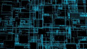 HUD interfejs z neonowym skutkiem, 3d odpłaca się tło z cyfrową zintegrowaną sieci technologią, drukowana obwód deska ilustracji