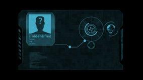 HUD Le concept de l'intelligence artificielle et de la technologie faciale biométrique de reconnaissance illustration de vecteur