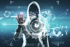 HUD and malware concept. Young hacker with digital business interface. HUD and malware concept. Double exposure royalty free stock image