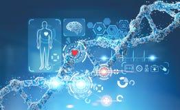 HUD medico e una catena del DNA fotografia stock libera da diritti