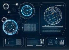 HUD Moderne Sammlung Zukünftiges Technologie-Anzeigen-Design Hud-Technologieinnovation Weißer Hintergrund der Abbildung für Ausle stock abbildung