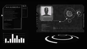 HUD O conceito da inteligência artificial e da tecnologia facial biométrica do reconhecimento