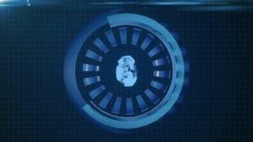 HUD okręgu interfejs z różnymi jarzy się błękitnymi elementami pętla ilustracji