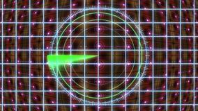 HUD-paneel met een radarnet en een bewegende achtergrond Motiegrafiek vector illustratie