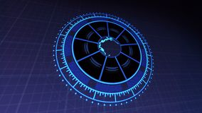 HUD with Planet Earth in Center of Rotating Circles 4k Rendered Video Footage in Dark Blue. vector illustration