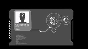 HUD Pojęcie sztuczna inteligencja i biometryczna twarzowa rozpoznanie technologia ilustracji