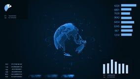 HUD Relação futurista com terra digital animado e diagramas video estoque