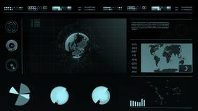 HUD Relação futurista digital abstrata em um fundo escuro com um mapa do mundo, gráficos, planeta holográfico filme