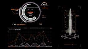 HUD Rocket Missile Interface Graphic Element bianco illustrazione vettoriale