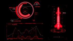 HUD Rocket Missile Interface Graphic Element rosso illustrazione di stock