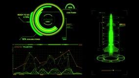 HUD Rocket Missile Interface Graphic Element verde illustrazione vettoriale