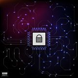 HUD style in network security vector illustration. Eps 10 future royalty free illustration
