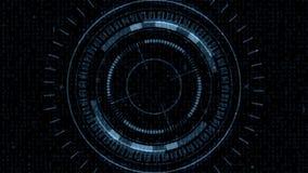 Hud Target futurista com a tela dos dados do computador na extremidade ilustração stock