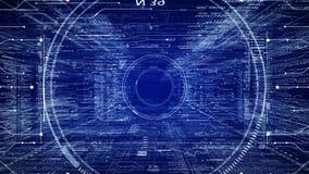 HUD teknologisk intro Flyga till och med det digitala HUD målet i utrymme för scifi-cyber stock video