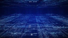 HUD teknologisk intro Flyga till och med digitalt utrymme för cyber för HUD scifi stock video