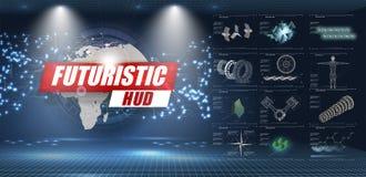 HUD UI Αφηρημένο εικονικό γραφικό ενδιάμεσο με τον χρήστη αφής Infographic Διανυσματική περίληψη επιστήμης διανυσματική απεικόνιση
