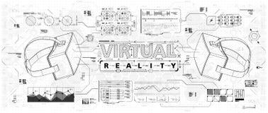 HUD ui για τα γυαλιά εικονικής πραγματικότητας Φουτουριστικό ενδιάμεσο με τον χρήστη για app και τον Ιστό Head-up infographic, κα Στοκ εικόνα με δικαίωμα ελεύθερης χρήσης