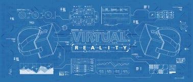 HUD ui για τα γυαλιά εικονικής πραγματικότητας Φουτουριστικό ενδιάμεσο με τον χρήστη για app και τον Ιστό Head-up infographic, κα Απεικόνιση αποθεμάτων