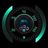HUD UI και infographic στοιχεία Φουτουριστικό ενδιάμεσο με τον χρήστη sci-Fi τεχνολογία πλανητών γήινων τηλεφώνων δυαδικού κώδικα ελεύθερη απεικόνιση δικαιώματος
