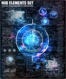 HUD UI Abstracte virtuele grafische glitch van het aanrakingsgebruikersinterface achtergrond Vectorwetenschapssamenvatting Vector Royalty-vrije Stock Foto's