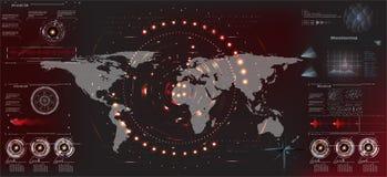 HUD UI Futurystyczny interfejs użytkownika HUD i Infographic elementy Abstrakcjonistyczny wirtualny graficzny dotyka interfejs uż ilustracji