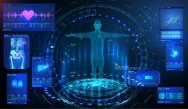 HUD UI GUI elementu ui badanie medyczne Wystawia set wirtualni interfejsów elementy Zdrowie technologia MRT futurystyczny royalty ilustracja