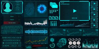 HUD UI interface for business app. HUD UI for business app. Interface elements Identity, fingerprint and retina check, statistics and charts and elements royalty free illustration
