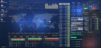 HUD UI per l'affare app Interfaccia utente futuristica HUD ed elementi di Infographic Interfaccia utente grafica virtuale astratt illustrazione vettoriale