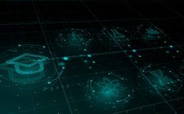 HUD vetenskapssymboler i cirklar som e-lär begrepp Utbildning vektor illustrationer