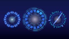 HUD visartavla, klocka, hastighetsmätare vektor illustrationer