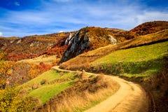 Huda lui Papara. Fall on Bedeleu Mountains, Alba county, Romania, the road to Huda lui Papara's Cave Stock Photography