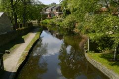 Hudderfield Narrow Canal in Friezland village stock images