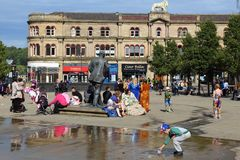 Huddersfield. UK - JULY 10, 2016: People visit , West Yorkshire, UK.  is the 3rd largest town in West Yorkshire with a population of 162,949 Royalty Free Stock Photos