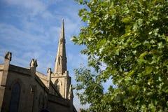 Huddersfield, West-Yorkshire, het UK, Oktober 2013, mening van St Paul Concertzaal stock foto