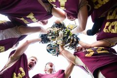 Free Huddle After Victory At American Football Team Stock Images - 113173844