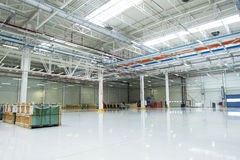 Hudge space in a warehouse. Bright clen Stock Photography