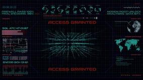 Hudinterface, het binnendringen in een beveiligd computersysteem computersysteem stock illustratie