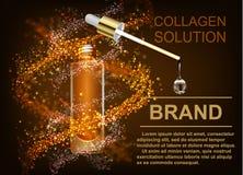 Hudomsorg, collagenlösningen En droppe av Q10 med DNA royaltyfri illustrationer