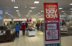 Bay Days Sale in Calgary Alberta Market MallHudsons Bay Department Store. Hudson's Bay Retail Store Interior during Bay Days Sale in Calgary Alberta stock images